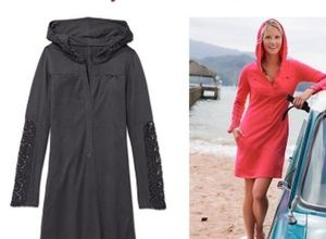 Athleta Carried Away Crochet Hooded Cover up